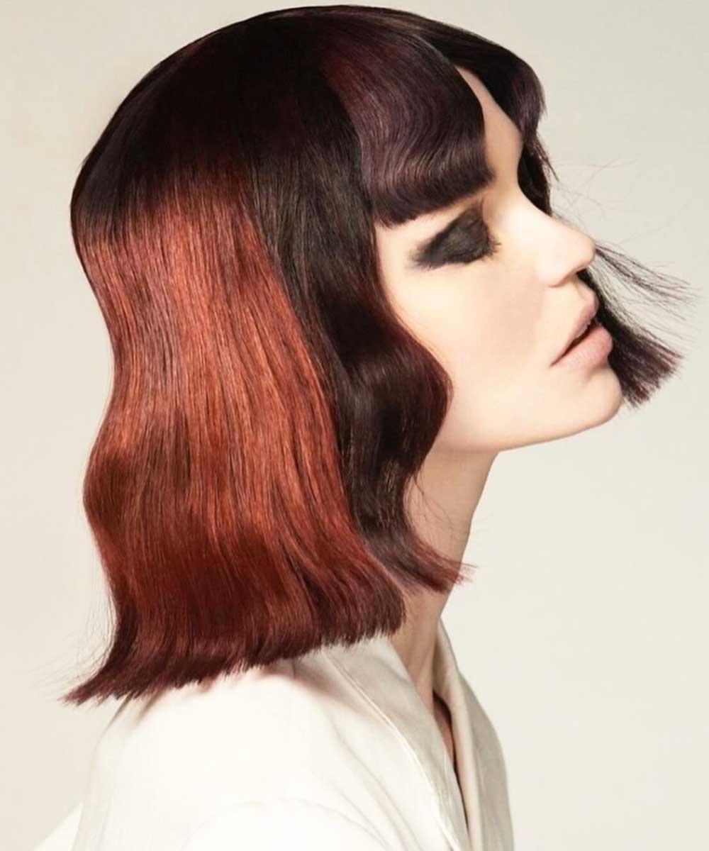 Bloque de color de pelo oscuro cobrizo 2021