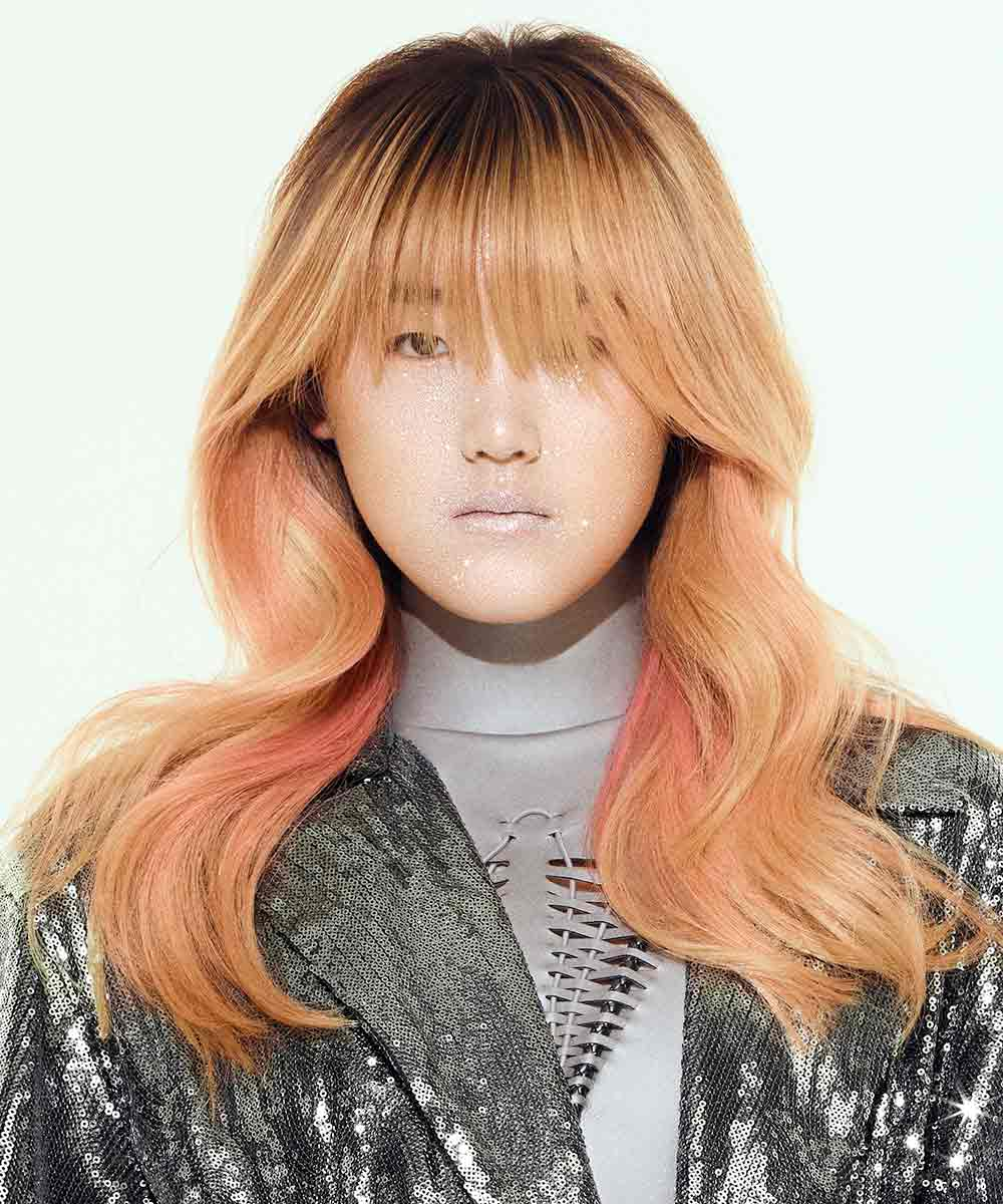 Tinte de pelo rubio tonos rosados