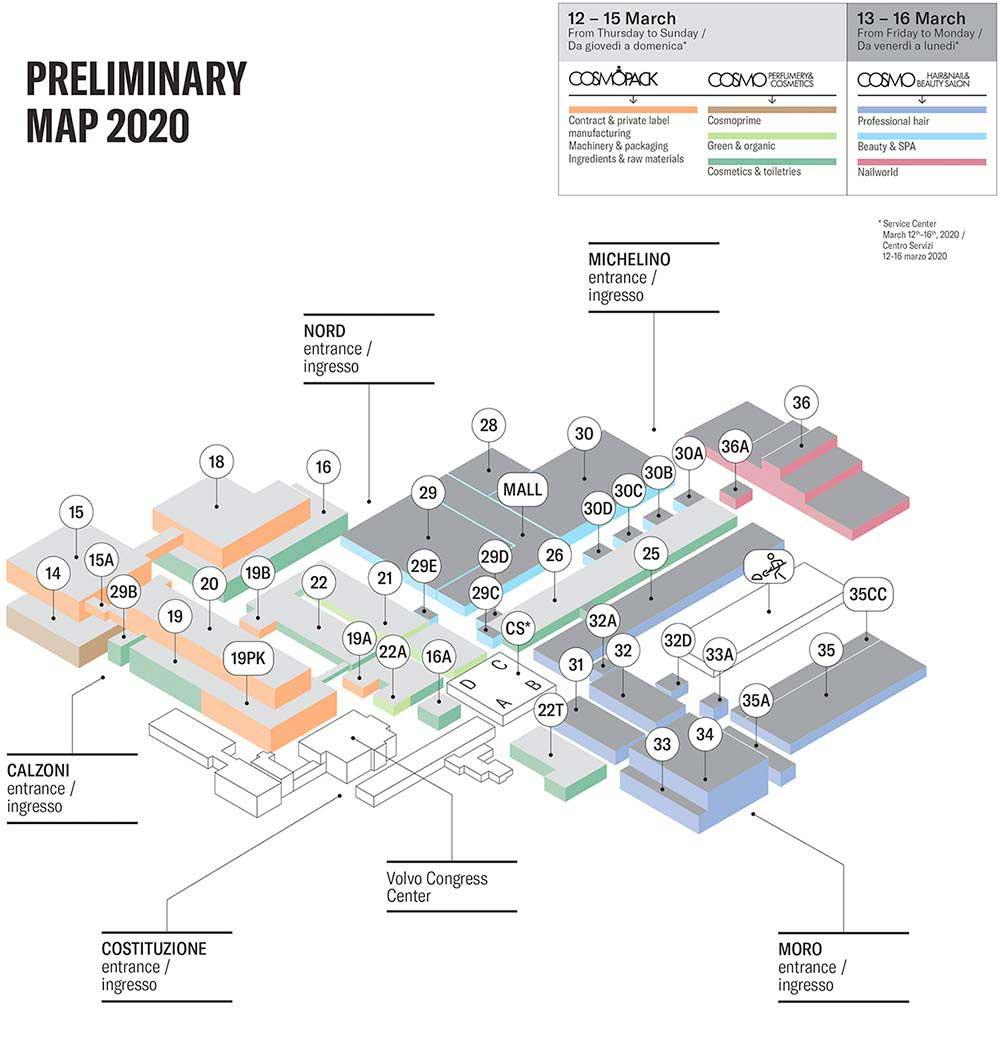 Mapa de Cosmoprof 2022