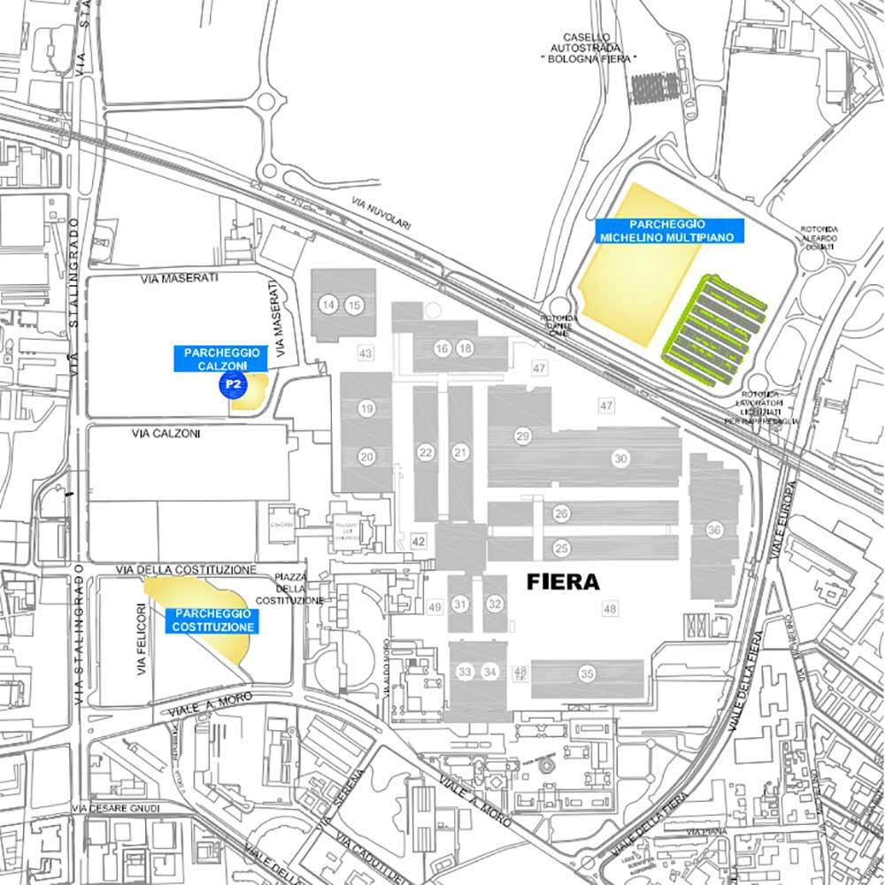 Mapa del aparcamiento de Cosmoprof 2022