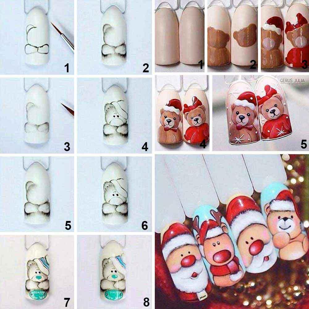 Nail art Osos de Navidad y Papá Noel