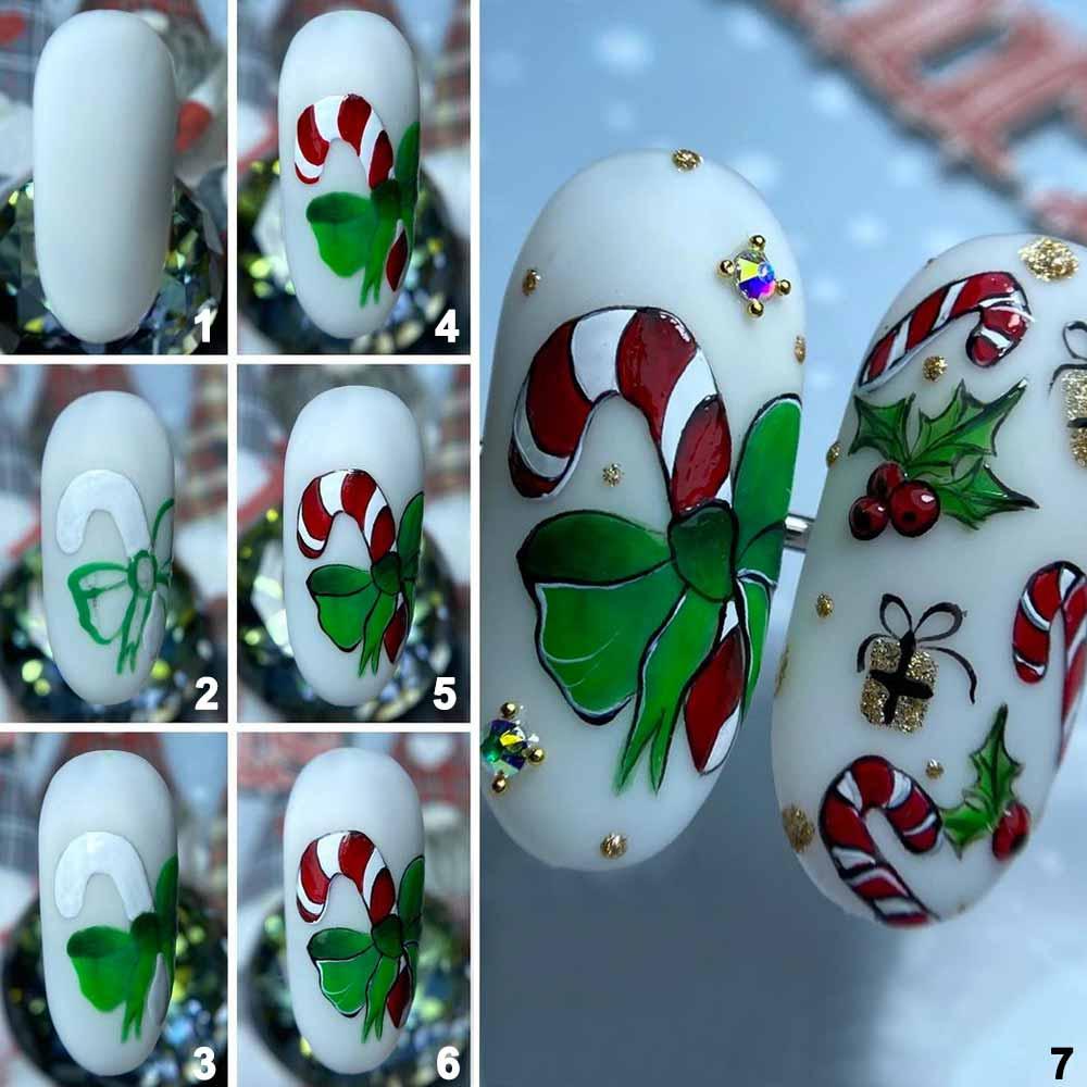 Sencillo arte de uñas de gel navideño
