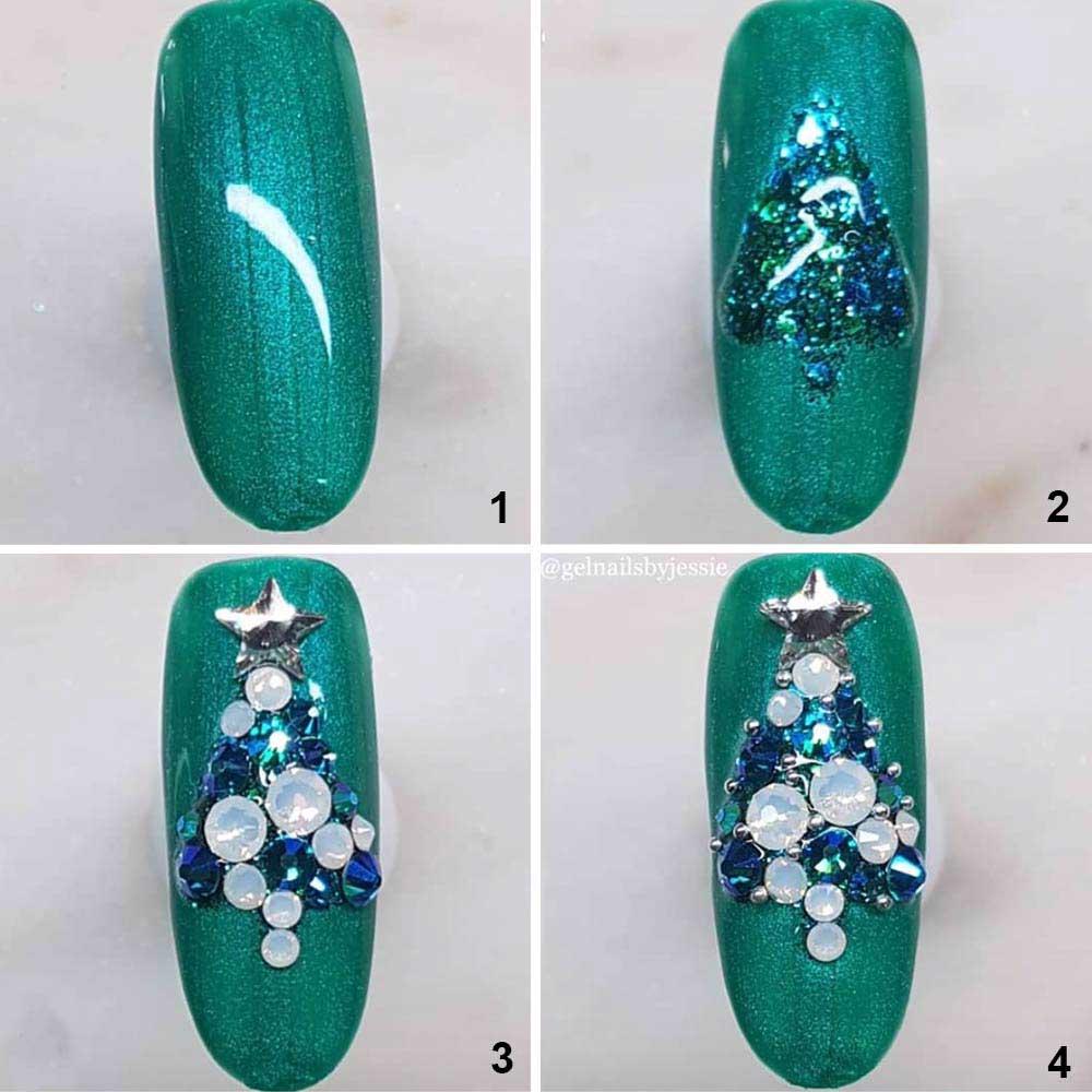 Sencillo arte de uñas en forma de árbol de Navidad
