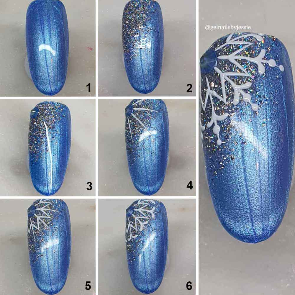 Arte de uñas en forma de copo de nieve en Navidad