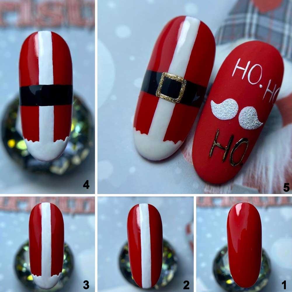 Sencillo arte de uñas navideño