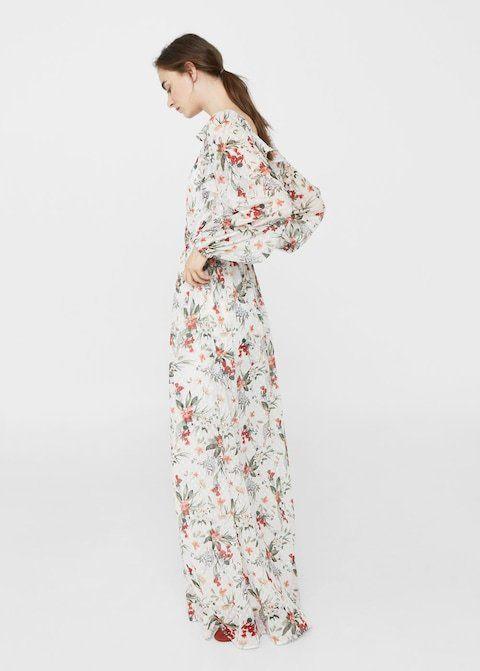 Vestido flores largo mango