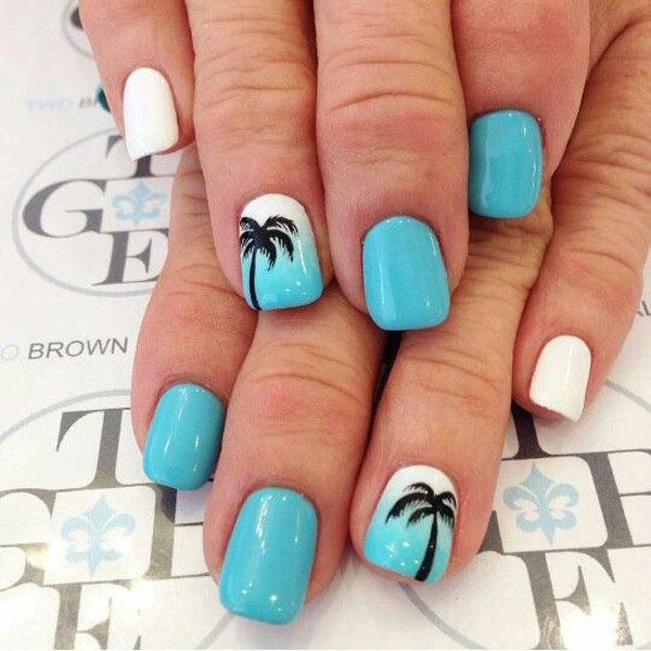 unas-acrilicas-azul-palmeras