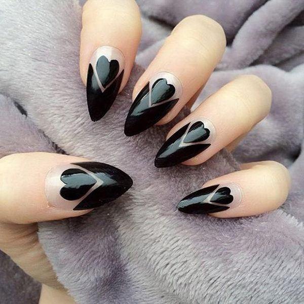 unas-acrilicas-corazones-negros