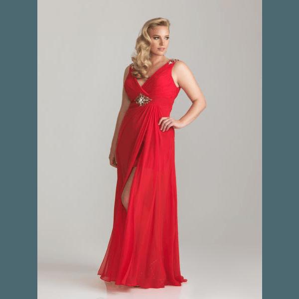 vestido-de-fiesta-para-gorditas-rojo-con escote