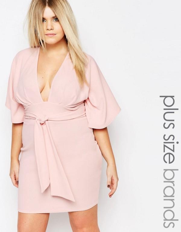 vestidos-fiesta-para-gorditas-rosa-con-escote