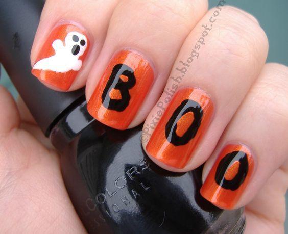 unas-halloween-fantasma-naranja