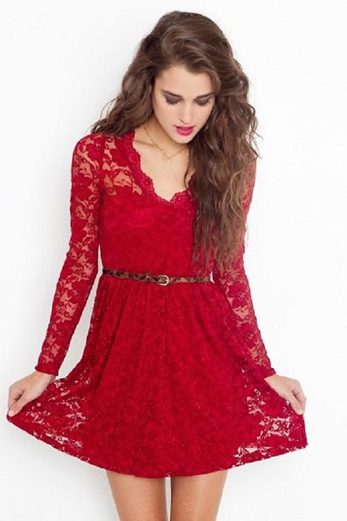 vestidos-de-fiesta-cortos-de-encajes-rojo-manga-larga