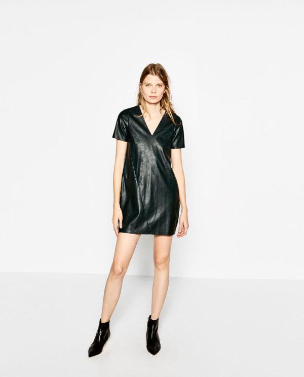 Vestido polipiel negro zara
