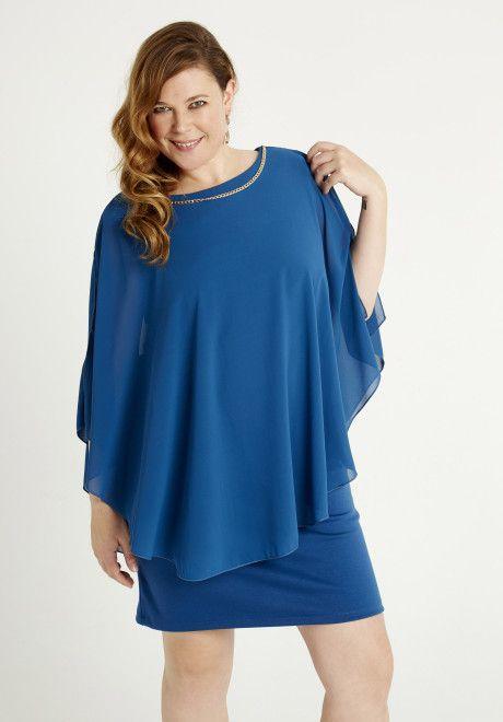 vestidos-para-gorditas-cortos-azul-suelto