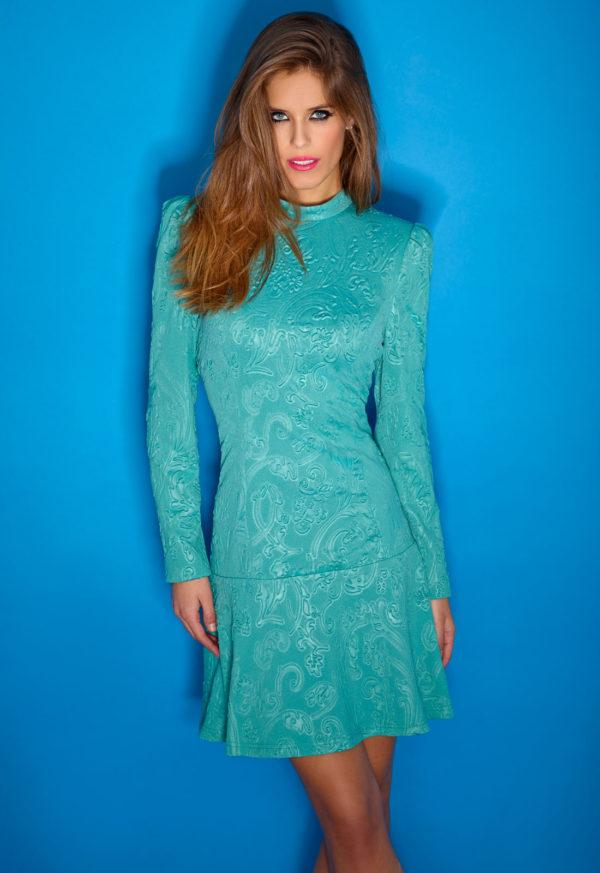 vestidos-de-comunion-para-madres-brocados-azul-turquesa