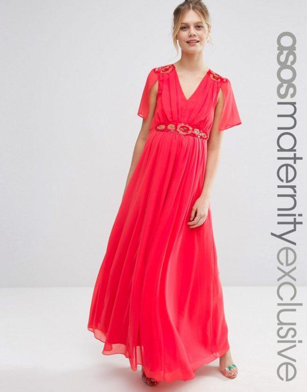 vestidos-de-fiesta-premama-para-embarazadas-asos-largo-vestido-capa-rojo