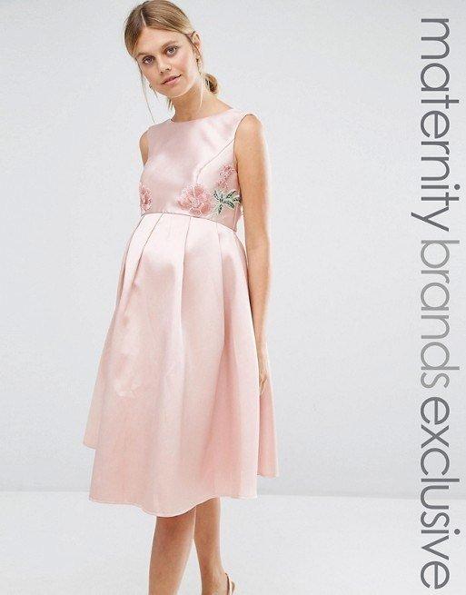 vestidos-de-fiesta-premama-para-embarazadas-bordado-floral-rosa