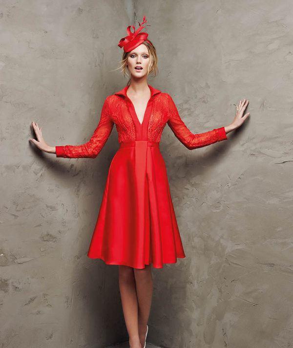 vestidos-de -fiesta-rojos-cortos-pronovia-lambreta