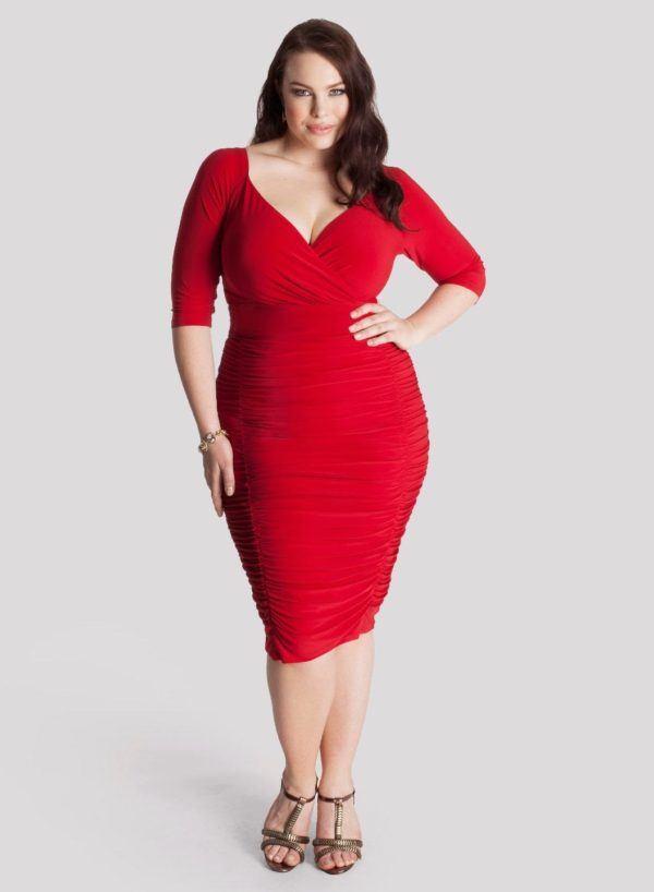 vestidos-de -fiesta-rojos-cortos-talla-grande-drapeado