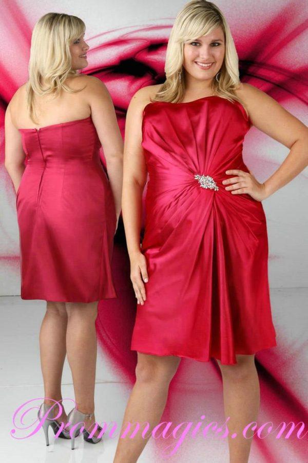vestidos-de -fiesta-rojos-cortos-talla-grande-drapeado-drapeado