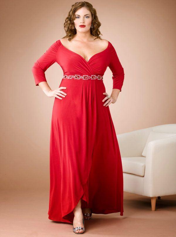 Vestido largo rojo talla grande