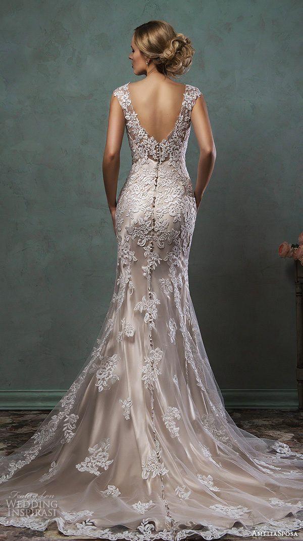 Vestido de novia corte sirena en encaje y guipur con