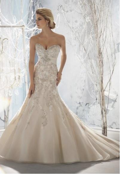 Vestidos de novia sirena beige
