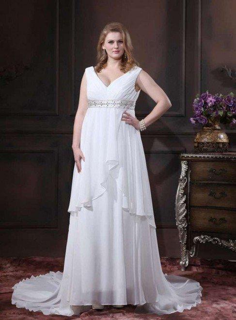 wedding-dresses-for-chubby-chiffon-empire-court