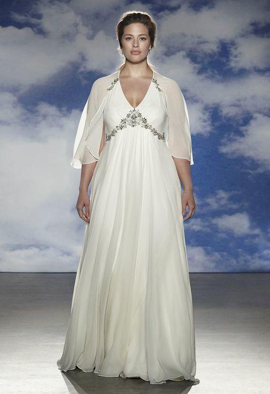 wedding-dresses-for-chubby-cut-empire-sleeve-cape