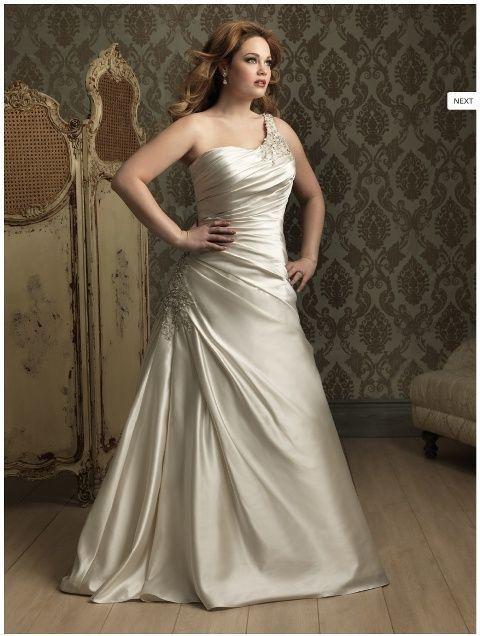 wedding-dresses-for-chubby-asymmetric-neckline