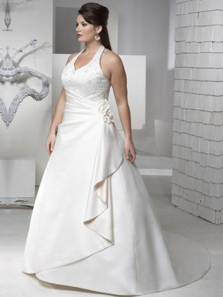 wedding-dresses-for-chubby-halter-neckline