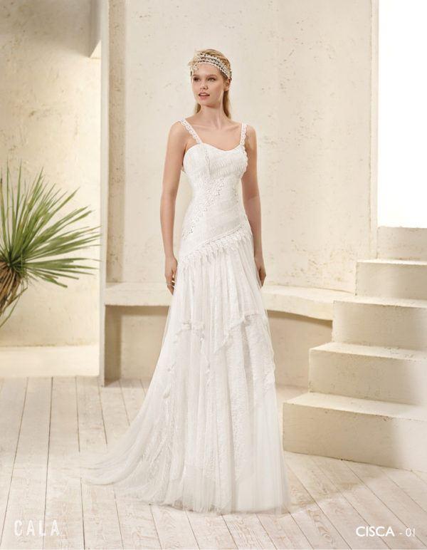 Vestido blanco ibicenco boda