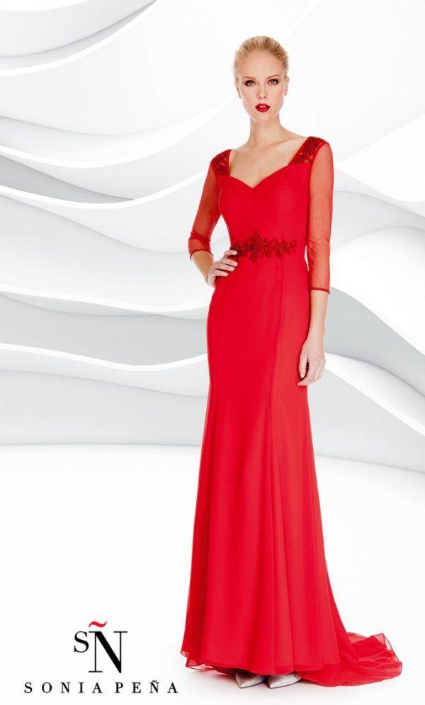 47d8e9908 vestidos-rojos-fiesta-otono-rojo-largo-recto-sonia-. Un elegante vestido ...
