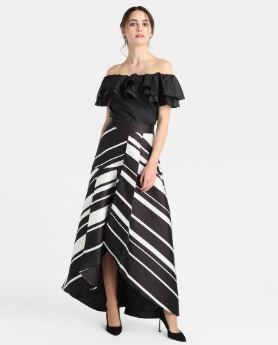 los-vestidos-de-comunion-para-madres-falda-larga-rayas-blanco-negro-fiesta-2018-elcorteingles
