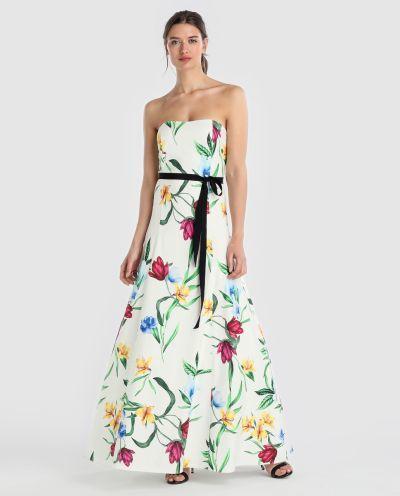 los-vestidos-de-comunion-para-madres-vestido-estampado-de-flores-lazo-negro-2018-elcorteingles