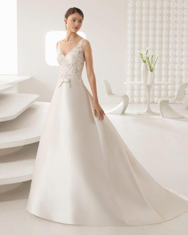 Vestidos de novia sencillos de rosa clara