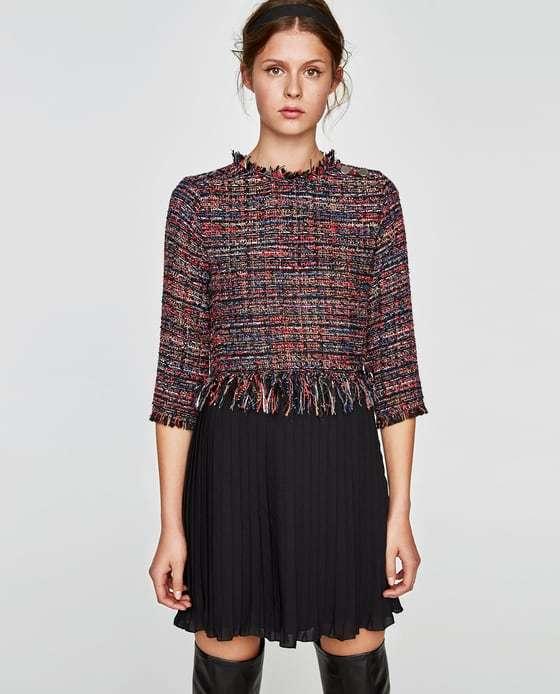vestidos-feos-zara-tweed-bajo-plisado