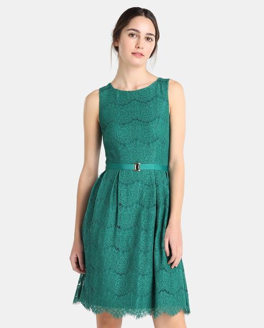 Vestidos color verde agua cortos de encaje