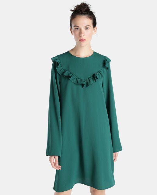 vestidos-verdes-volantes-el-corte-ingles