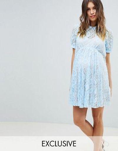 vestidos-de-fiesta-premama-para-embarazadas-vuelo-encaje-cuello-asos-design-maternity