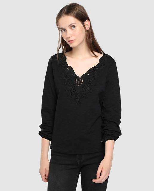 tintoretto-camiseta-negra-con-guipur-y-manga-larga