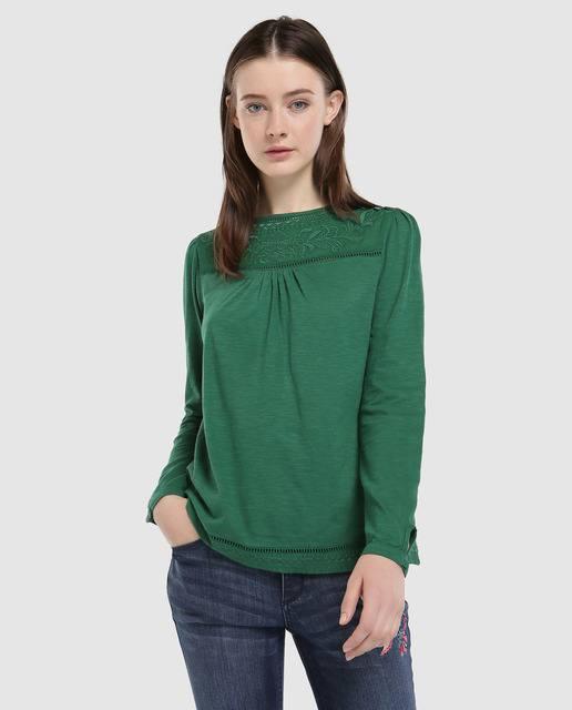 tintoretto-camiseta-verde-con-bordado-y-botones