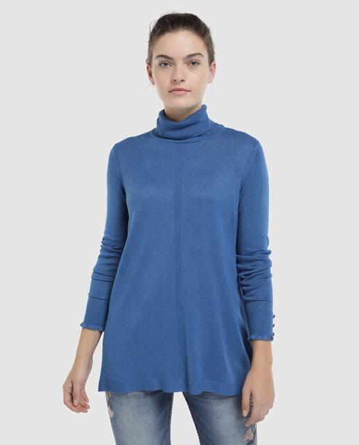 tintoretto-jersey-largo-cuello-vuelto-azul