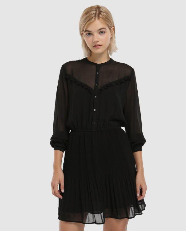 Vestido negro con flores el corte ingles