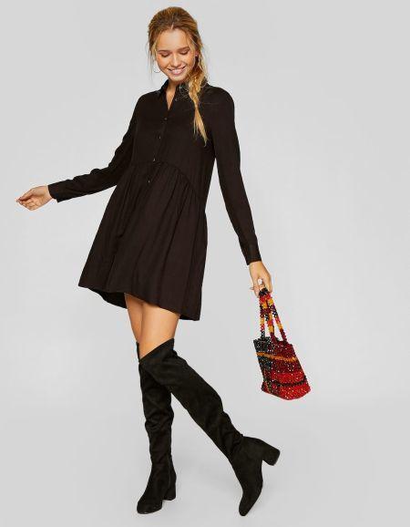 vestidos-stradivarius-cortos-camisero-liso