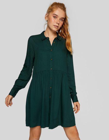 vestidos-stradivarius-cortos-camisero-verde-botella