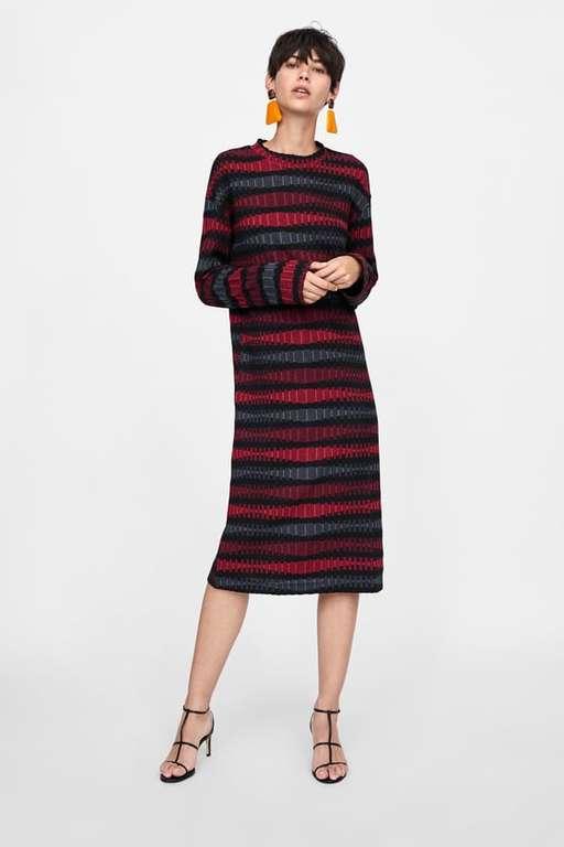 zara-otono-invierno-vestido-jacquard-multicolor