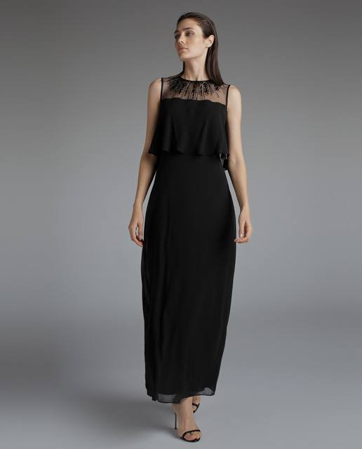 vestidos-negros-largo-volante-woman-fiesta-elcorteingles