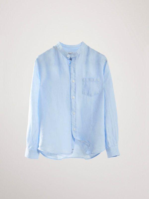 Camisa de cuello Mao 100% Lino