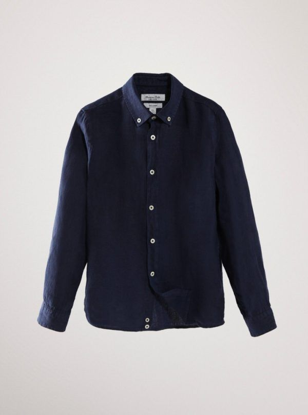 Camisa de lino lisa